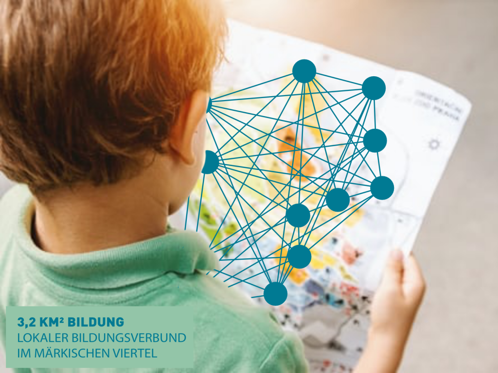 Das Logo des Lokalen Bildungsverbunds zeigt das Netzwerk im Märkischen Viertel. Die Punkte sind Bildungseinrichtungen rund um den Senftenberger Ring. Das Kind betrachtet seine steigenden Chancen durch die Bündelung der Ressourcen. (Originalbild von jeshoots.com)